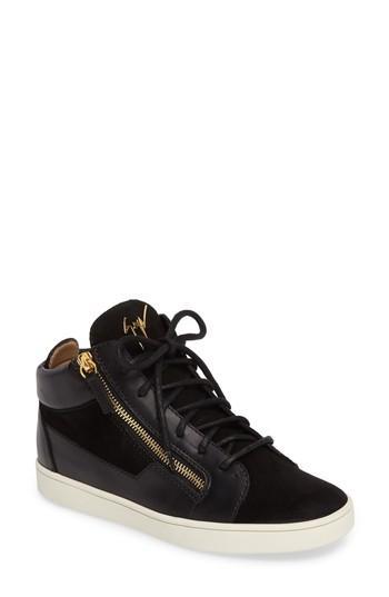 Giuseppe Zanotti May London Leather Sneakers In Beige Velvet