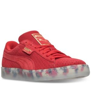 Puma Women's Suede Classic V2 Perf Casual Sneakers From Finish Line In High Risk Red/  White