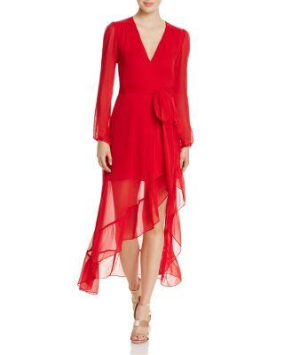 Wayf Only You Ruffle Wrap Dress - 100% Exclusive In Red