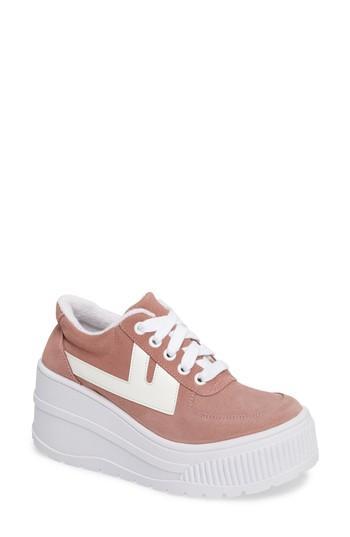 Jeffrey Campbell Twenty-one Platform Sneaker In Pink Suede