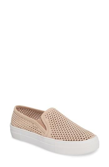 Steve Madden Gills Perforated Slip-on Sneaker In Natural Suede