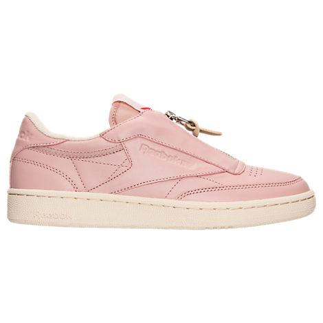 Reebok Women's Club C Zip Casual Sneakers From Finish Line In Pink/ White/ Silver/ Chalk