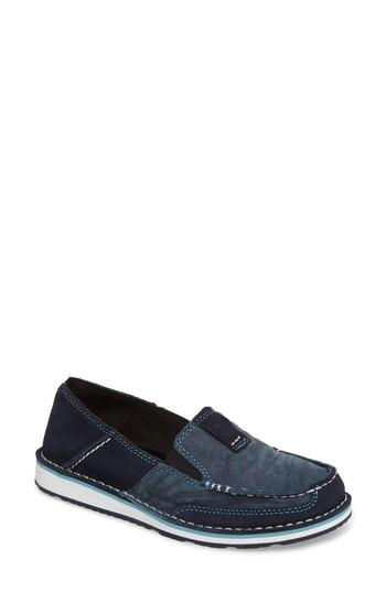 Ariat Cruiser Slip-on Loafer In Navy Eclipse/ Blue Zebra Suede