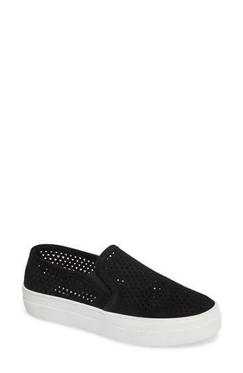 Steve Madden Gills Perforated Slip-on Sneaker In Black Suede