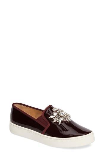 Badgley Mischka Barre Crystal Embellished Slip-on Sneaker In Burgundy Patent