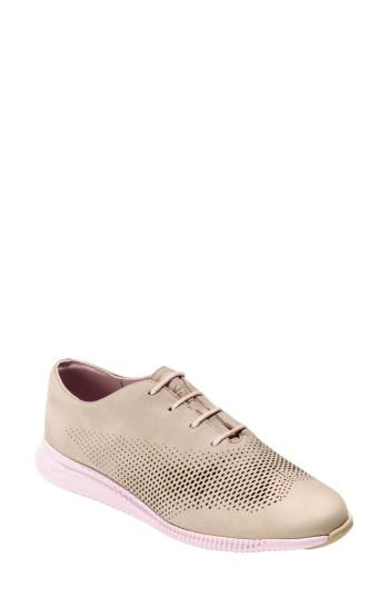 Cole Haan 'zerogrand' Perforated Wingtip In Barley/ Pale Lilac Nubuck