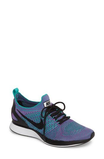 Nike Women's Air Zoom Mariah Flyknit Racer Casual Shoes, Green In Clear Jade/ Black