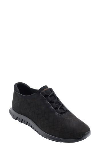 Cole Haan Zer?grand Genevieve Perforated Sneaker In Black Perf Nubuck