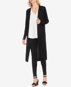 Vince Camuto Speckled Open Front Maxi Cardigan In Rich Black