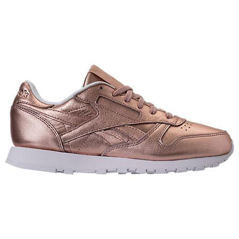 98e0a98d8f5 Reebok Women s Classic Leather Metallic Casual Sneakers From Finish Line In  Peach  White Pearl