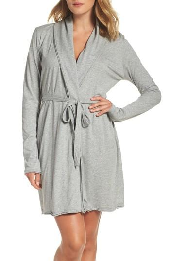 Skin Coco Short Robe In Heather Grey