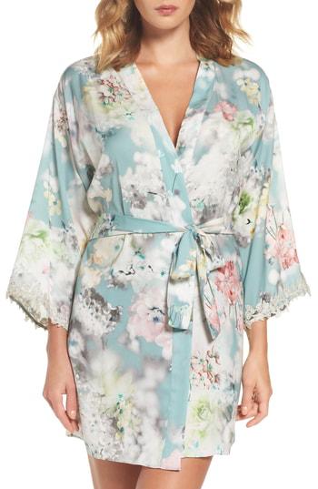 Flora Nikrooz Kaylee Kimono Robe In Teal