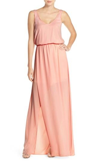 Show Me Your Mumu Kendall Soft V-back A-line Gown In Frosty Pink Crisp