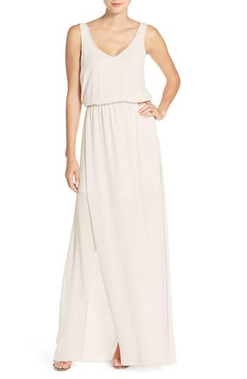 Show Me Your Mumu Kendall Soft V-back A-line Gown In Show Me The Ring Crisp