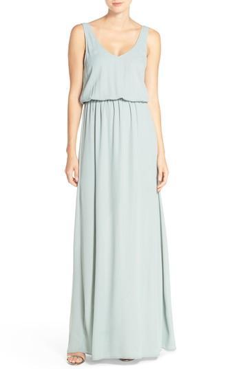 Show Me Your Mumu Kendall Soft V-back A-line Gown In Silver Sage Crisp