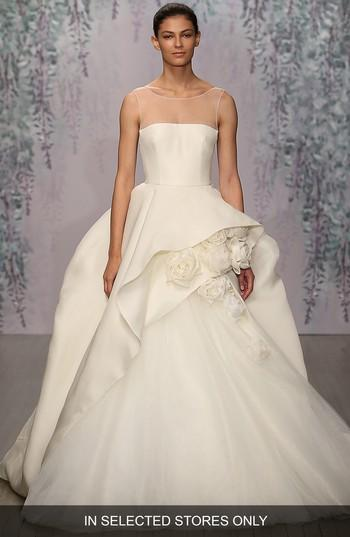Monique Lhuillier Rosette Detail Silk Ballgown Dress In Ivory