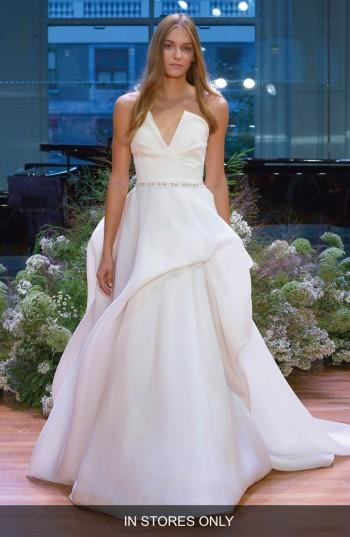 Monique Lhuillier Emerson Strapless Notch Silk Gazar Ballgown In Ivory
