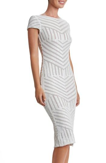 Dress The Population Katerina Body-con Dress In White/ Nude