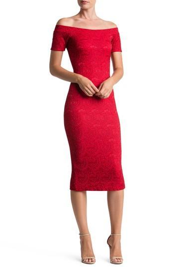 Dress The Population Jemma Off The Shoulder Dress In Red/ Black