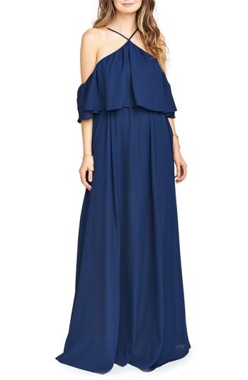 Show Me Your Mumu Rebecca Off The Shoulder Chiffon Gown In Rich Navy