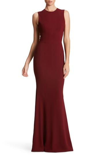 Dress The Population Eve Crepe Mermaid Gown In Burgundy