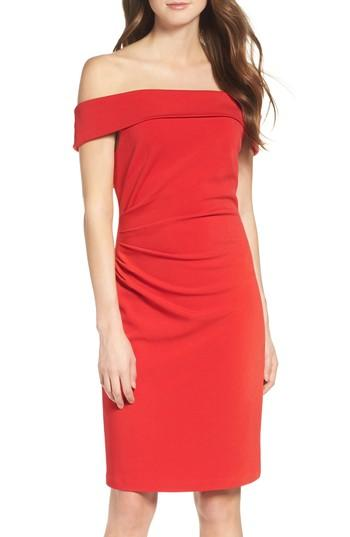 Vince Camuto Off The Shoulder Crepe Sheath Dress In Red