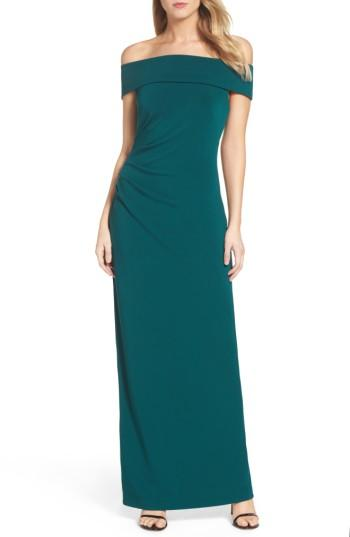 Vince Camuto Off The Shoulder Gown In Emerald