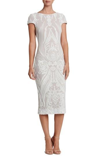 Dress The Population Brandi Sequin Body-con Dress In White/ Nude