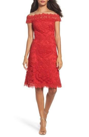 Tadashi Shoji Embroidered Sheath Dress In Deep Red