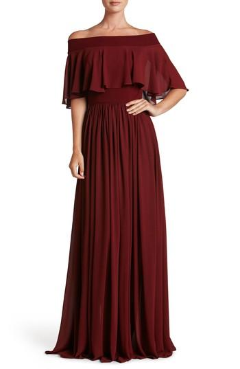 Dress The Population Violet Off The Shoulder Chiffon Gown In Burgundy