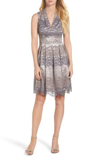 Vince Camuto Lace Fit & Flare Dress In Grey Multi