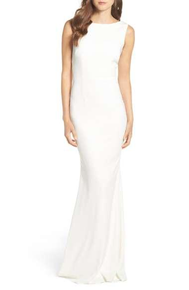 Katie May Vionnet Drape Back Crepe Gown In Ivory