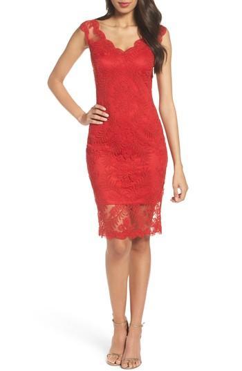 Tadashi Shoji Corded Tulle Sheath Dress In Deep Red