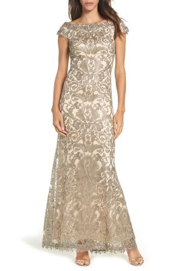Tadashi Shoji Off The Shoulder Corded Tulle Gown In Duchess Grey/ Desert Bloom