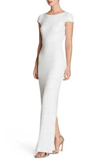 Dress The Population Teresa Body-con Gown In White