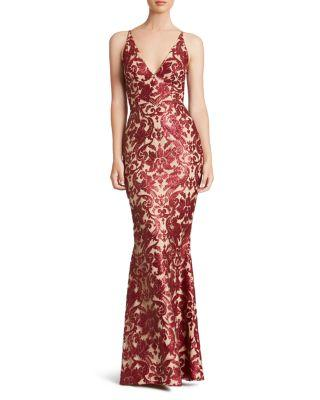 Dress The Population Karen Mermaid Gown In Berry/ Nude Lace