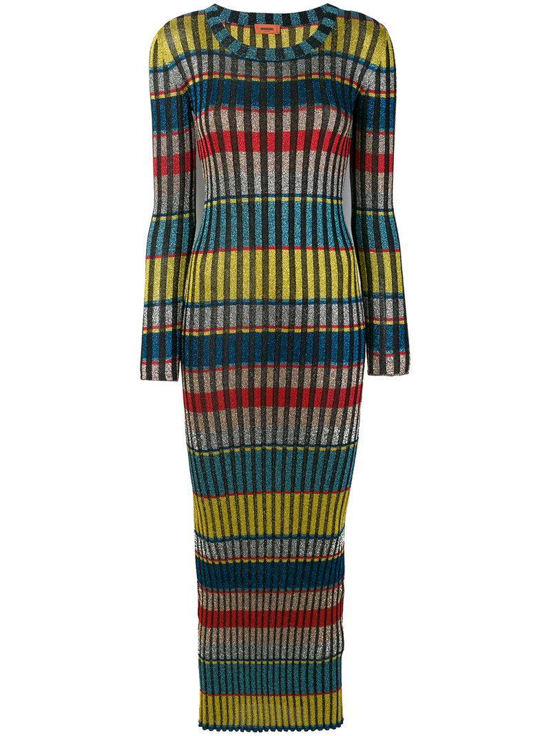 Missoni Metallic Stripe Knit Maxi Dress In Yellow/ Blue Multi