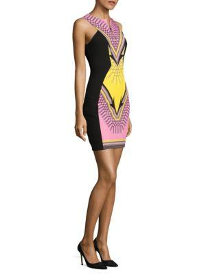 Versace Collection Scarf Print Stretch Cady Dress In Pink