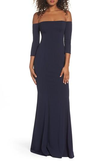 Katie May Brentwood Three-quarter Sleeve Off The Shoulder Gown In Navy