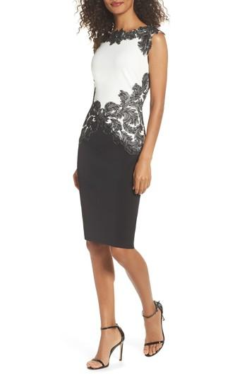 Tadashi Shoji Feather Applique Sheath Dress In Black/ White