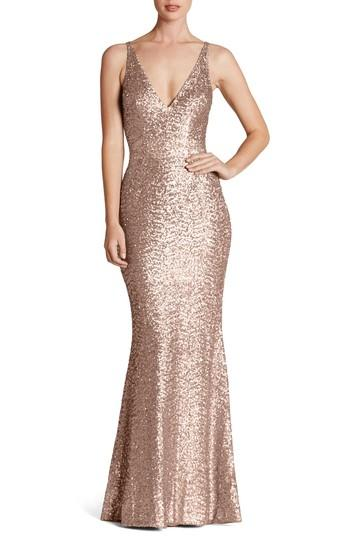Dress The Population Harper Mermaid Gown In Rose Gold