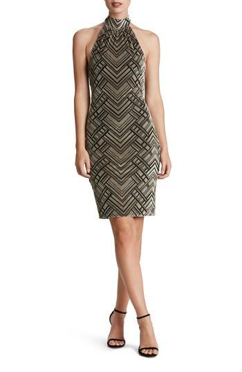 Dress The Population Avery Geometric Burnout Velvet Halter Dress In Taupe/ Black