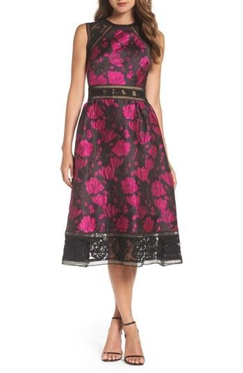 Tadashi Shoji Lace Trim Rose Jacquard Midi Dress In Fuchsia/ Black