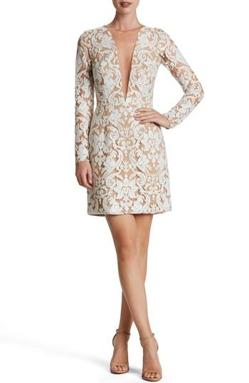 Dress The Population Claudia Plunging Illusion Sequin Lace Minidress In White/ Nude