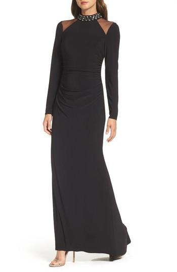 Vince Camuto Mesh Panel Gown In Black