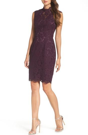 Vince Camuto Open Back Lace Sheath Dress In Plum