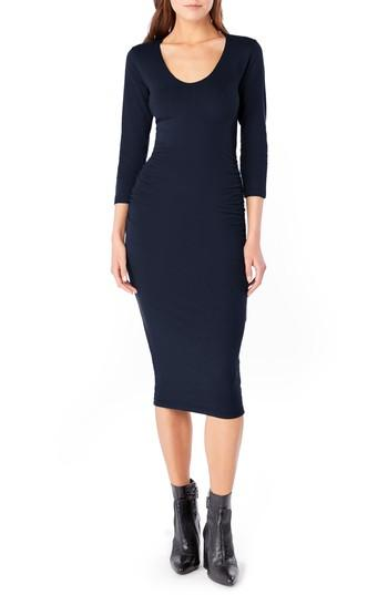 Michael Stars Ruched Midi Dress In Nocturnal