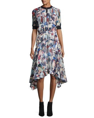 Grey Jason Wu Print Handkerchief Hem Dress In Multi