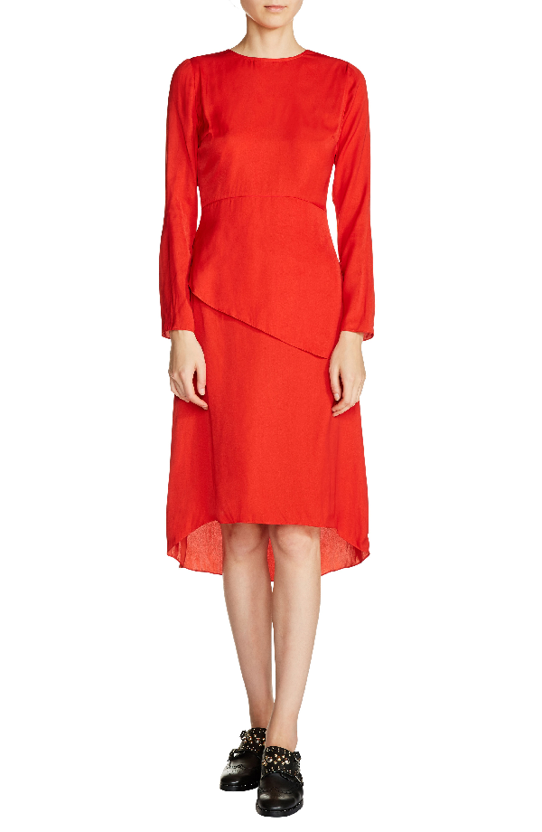 Maje Remania Waist-overlay Crepe Midi Dress In Red