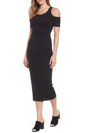 Michael Stars Cold Shoulder Body-con Dress In Black